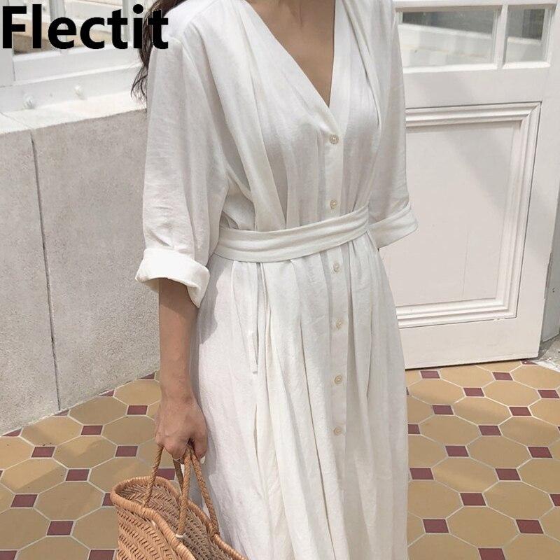 Flectit femmes été plage robe tout blanc large plissé Midi longue robe avec ceinture bouton Up col en v vacances robe Caftans *