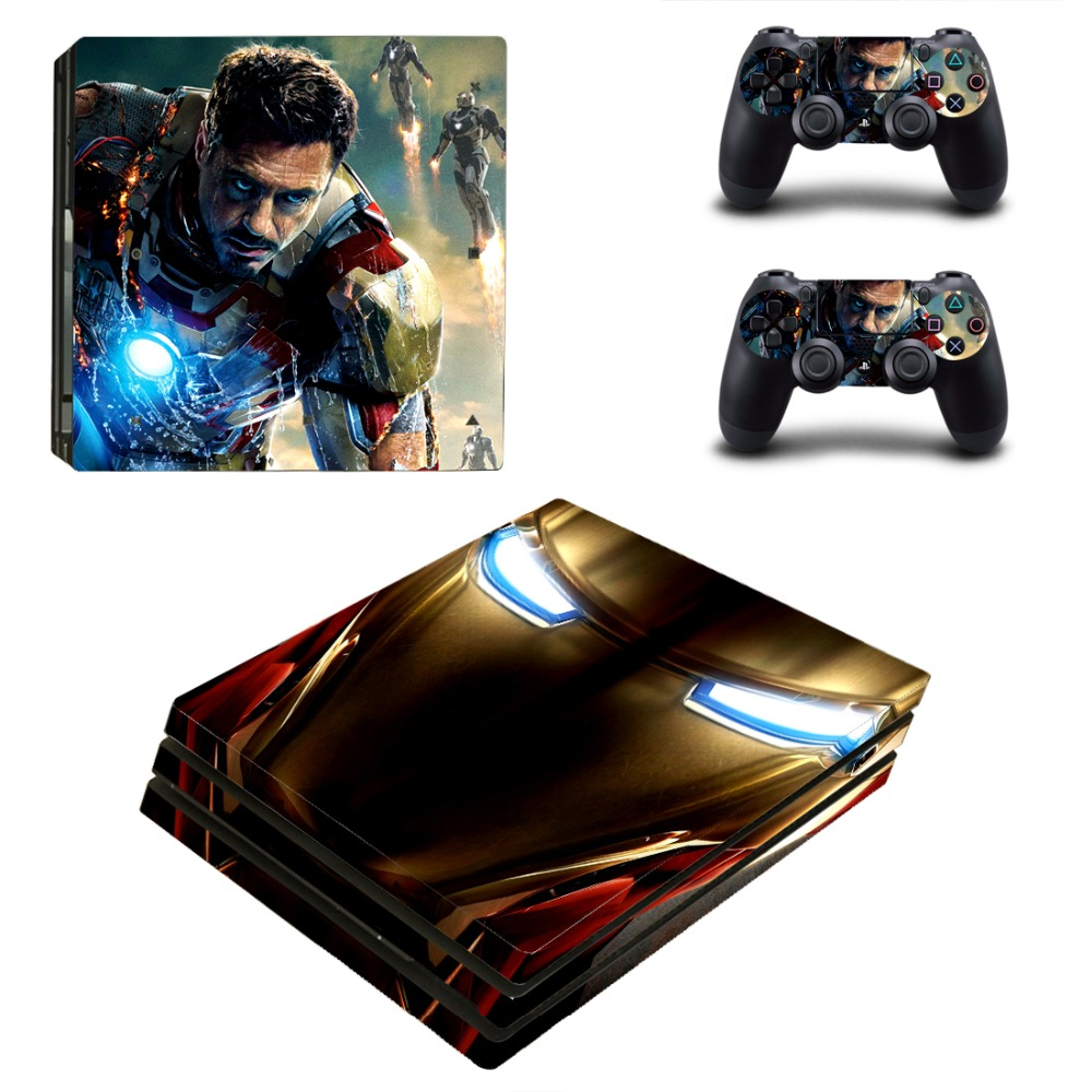OSTSTICKER Super Iron Man for Sony PS4 Pro For Sony Play Station 4 Pro Console and Controllers Skins Decal