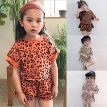 Girls Summer Leopard Baby Suit 2 Piece Set Korean Top +Shorts Toddler Girl Fashion New Children Clothes
