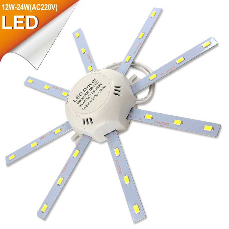 все цены на LED Light Board Ceiling Lamp 220V LED Lamp SMD 5730 12W/16W/24W High Bright White Octopus Round Kitchen Bedroom Light Board LEDs онлайн
