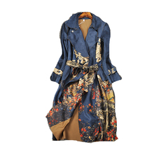 Europe station 2017 autumn and winter New Arrival Casual Batik Full sleeve Long Turn-down Collar Belt Slim Print women Trench