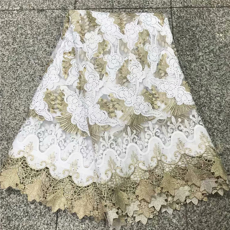 Elegant Bride Wedding Dresses Embroidered Net Lace Tulle Lace Fabric With Beads High Quality African Nigeria