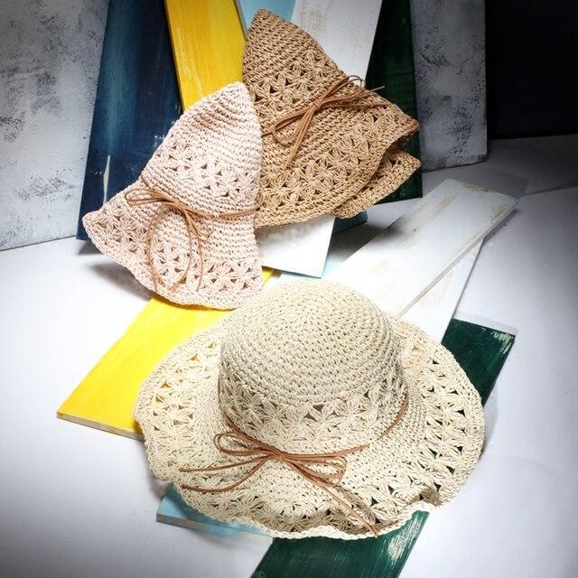 Женщины Лето Большой Брим Складной Вс Шляпы Ручной Работы Крючком Соломы Пляж Шляпа Шляпа Солнца Женщина