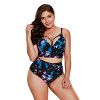 PLUSLAND TANKINI Summer Women Printing Pattern Push Up High Waist Swimsuit Hollow Out Detail Two Piece Separates Bathing Suits