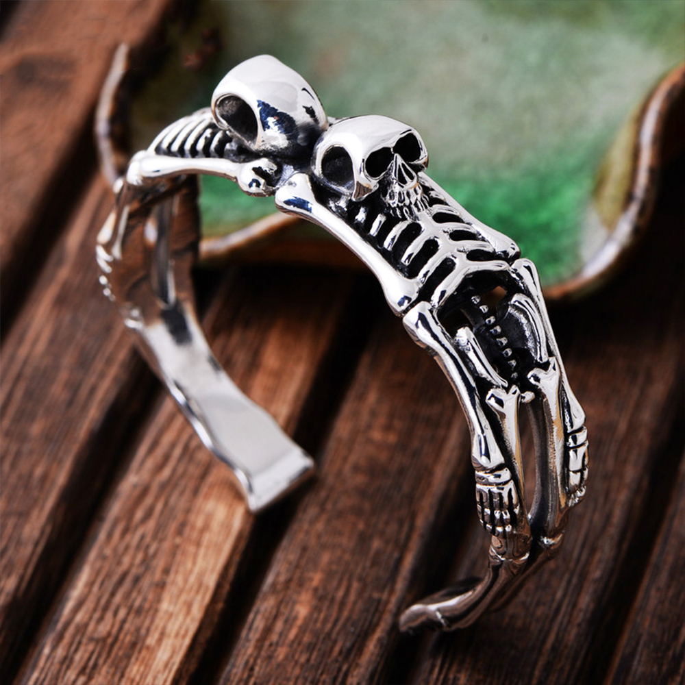 Solid 925 Sterling Silver Skeleton Bracelet for Men Rock Punk 1 6cm Width Skull Bangles Handmade Carved Human Bone Fine Jewelry in Bangles from Jewelry Accessories