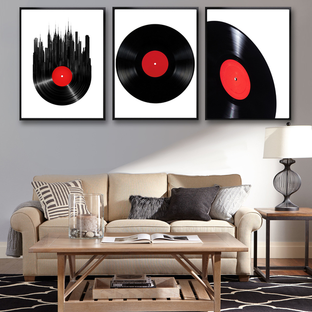 Classical Vinyl Records Art Canvas Poster Modern Minimalist Living Room Home Decor Painting Background No Frame