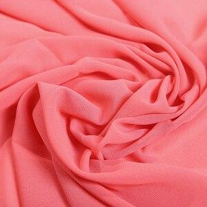 Image 3 - Pianura bolla chiffon sciarpa del hijab delle donne wrap printe scialli di colore solido fascia musulmano hijab sciarpe/sciarpa 55 colori