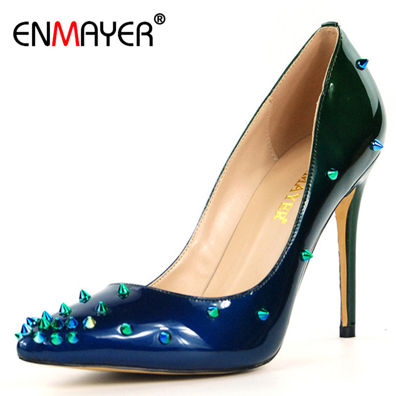 ENMAYER New Rivets Charms Shoes Woman High Heels Pointed Toe Summer Pumps Plus Size 35-46 Blue Purple Shoes Thin Heel Shoe enmayer cross tied shoes woman summer pumps plus size 35 46 sexy party wedding shoes high heels peep toe womens pumps shoe