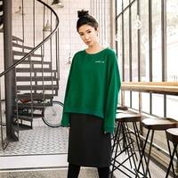 Đôi con rối áo thun hoodie phụ nữ xuân thu loose casual outwear cả hai bên mặc nhiều phương pháp mặc màu rắn 173026