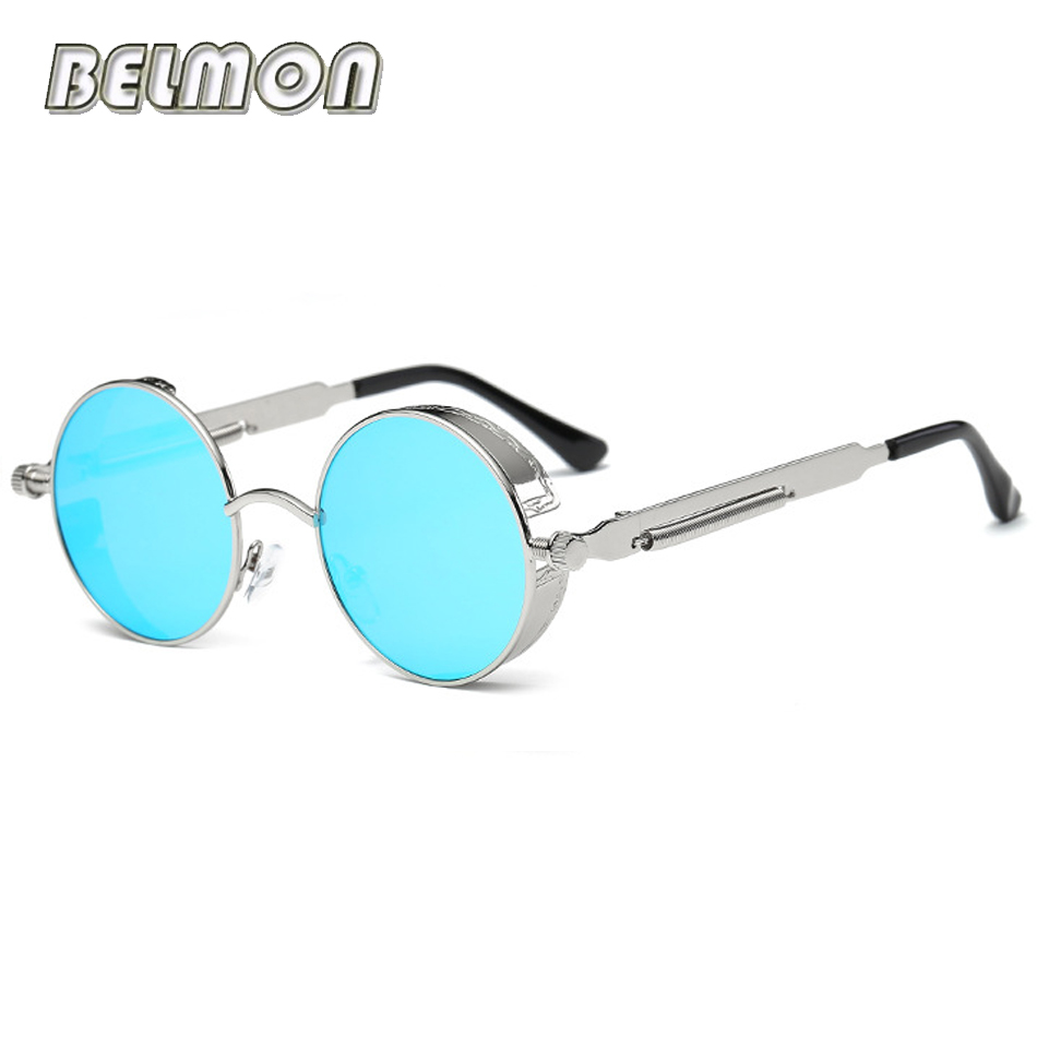 Steampunk Gafas gafas de sol hombres mujeres marca de lujo ronda Sol Gafas para damas retro círculo vintage Hombre Mujer rs291