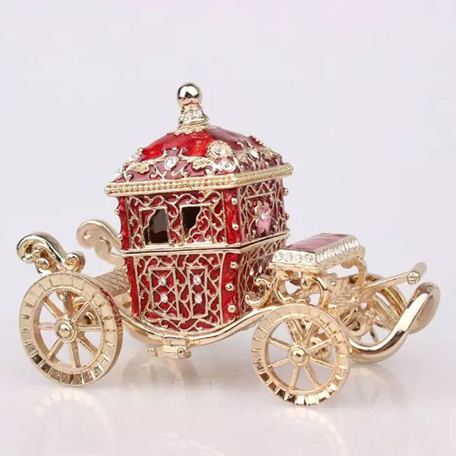 jeweled crown carriage jewelry box car treasure wedding jewelry ring box gift for her christmas mothers - Christmas Ornament Ring Box