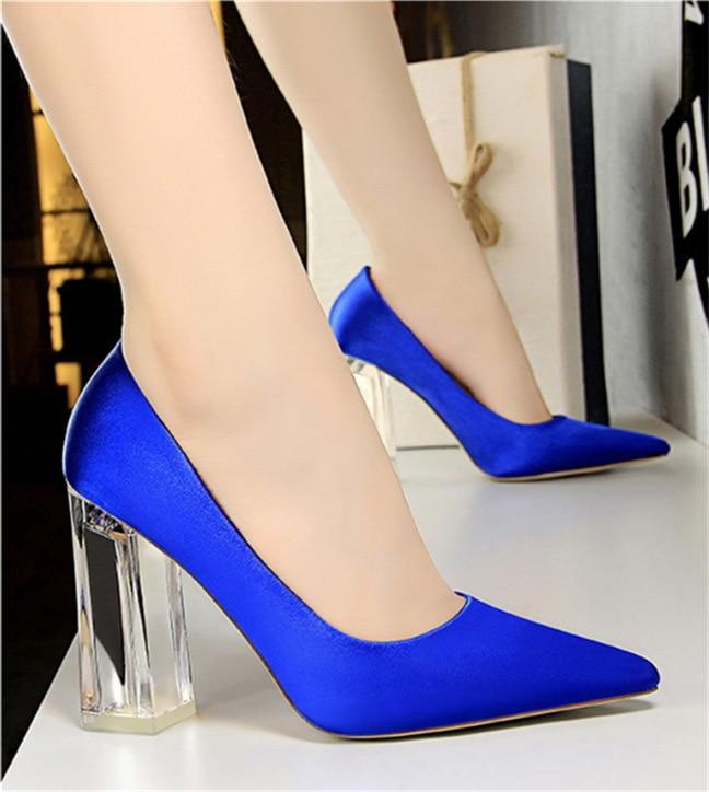 2019Plus Size 43 Women Block 10cm High Heels Lady Scarpins