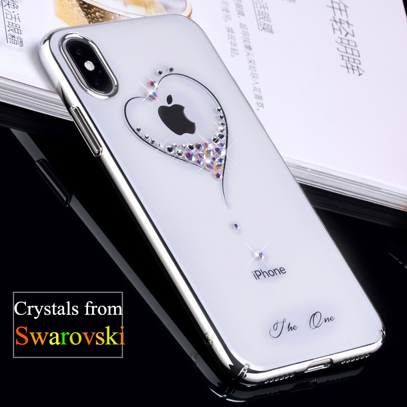 new style c23b6 f0e83 US $14.99 |KINGXBAR for iPhone X Case Swarovski Element Crystals Diamond  Plated Hard Crystal Case for iPhone X Cover iPhoneX Phone Coque-in  Rhinestone ...