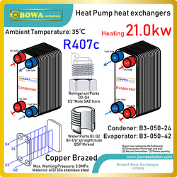 72000BTU geothermal heat pump water heaters PHE are really good & economic heat source for workshops or hosiptials in cold zone