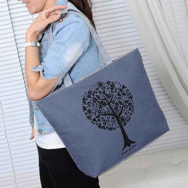 2017 Casual Women Leisure Large Capacity Tote Canvas Shoulder Bag Shopping Bag Beach Bags Fashion Tote Feminina 4