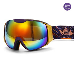 NORTH WOLF Ski Goggles Double Anti fog Skiing Glasses Snow Sports Ski Clear Lens Mountaineering Mirror