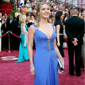 Oscar Dress Red Carpet V-Neck Chiffon Blue Crystal Pleat Beading Custom-Made Slim Sexy