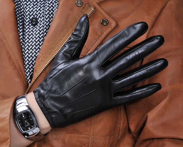 DFY Men's CLOSE-FIT Touch Screen Leather Gloves, 100% Import Sheepskin, Free shipping
