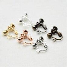 10pcs/lot Copper Earring Hooks Clasps Settings Rose Gold Silver Color Earrings Clip for DIY Ear Jewelry Making Findings