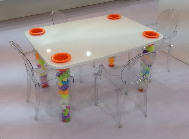 Transparent Kids dining table Children's toys table