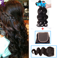 Grade 7A Peruvian Virgin Hair 3 Bundles With Lace Closure Human Hair Weave Natural Black Color Soft Thick And Full Remy Queen