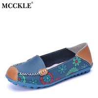 MCCKLE 2017 Spring Women Casual Shoes Genuine Leather Printing Loafers Shoes Woman Fashion Slip On Shallow