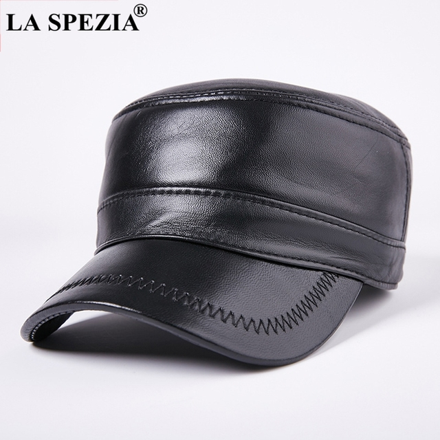 e30e6ff44 LA SPEZIA Military Hats For Men Black Flat Top Hat Casual Real Leather Army  Cap Male Winter Adjustable Vintage Duckbill Caps-in Military Hats from ...