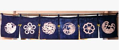 (Customized Size Accept) Korea/Japan/China Sushi Restaurant Kitchen Hanging 6 Combine Linen Curtain-Flowers(210x40cm)