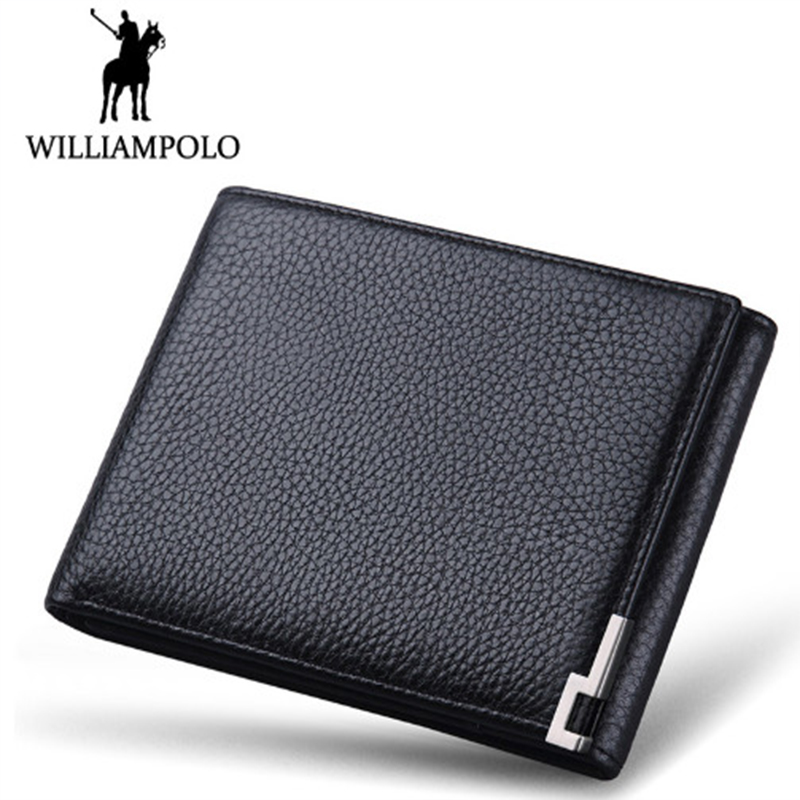 WILLIAMPOLO Genuine Cow Leather Men Wallet Fashion Coin Pocket Brand Trifold Design Men Purse High Quality Male Card ID Holder contact s genuine cowhide leather men wallet trifold wallets fashion design brand purse id card holder with zipper coin pockets