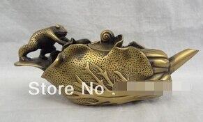 """0 10 """"chinese Bronze Jump Frog Hoptoad Schnecke Statue Kohl Blatt Teekanne Wein Topf Den Speichel Auffrischen Und Bereichern"""