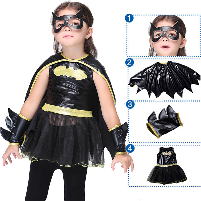 Batman Cosplay Costume For Girls Halloween Christmas Girls Party Dress Fancy Kids Children Superhero Batman Costume Black Suit