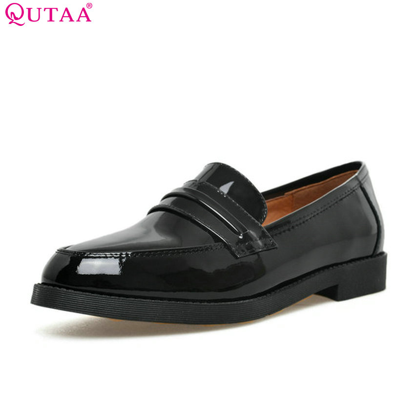 QUTAA 2018 Women Pumps Fashion Patent Leather Women Shoes Square Low Heel Black Slip on Casual Ladies Pumps Szie 34-40