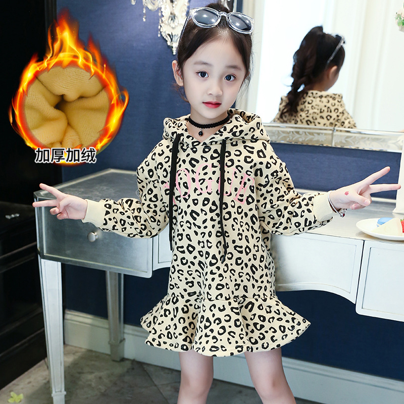 2018 Girls Dress 2018 New Fashion Christmas Dress Leopard Print Winter Thick Warm Sweatshirt Dresses 8 9 10 12 Princess Costume крючок cobra 0071 okiami bz 02 10шт