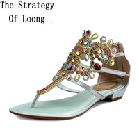 Genuine Leather Filp Flops Women Crystal Sandals Sexy Rhinestone Beading Sandals Summer Sandal Shoes Plus Size