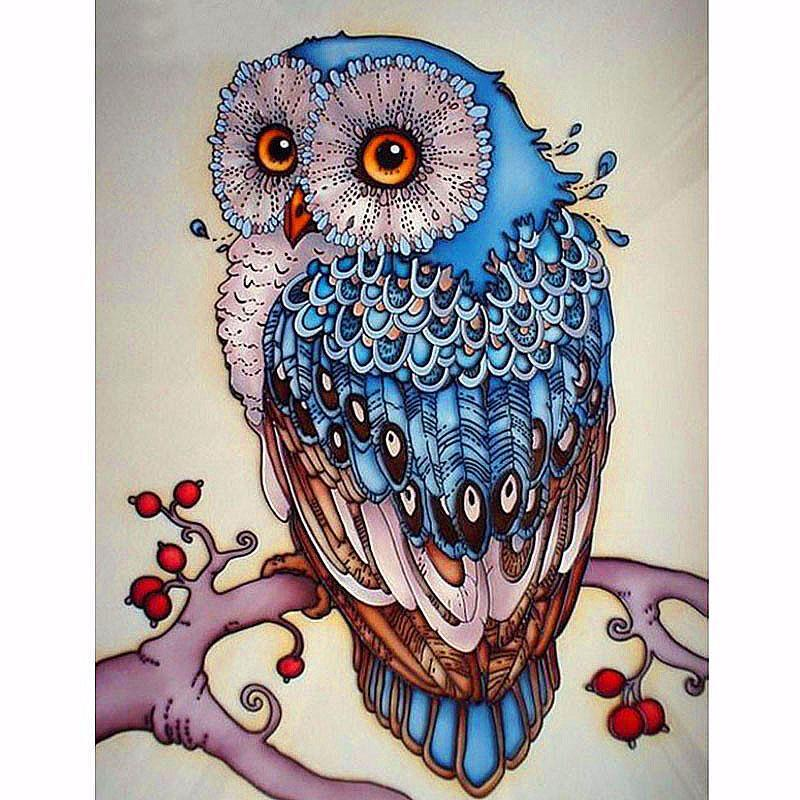 My diamond pianting   Blue Owl  5D diy Needlework diamond embroidery square Crystal resin diamond picture mosaic diy diamond