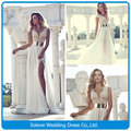New Flowing Floor Length V-neck Cap Sleeve Leg Slit Beading Chiffon Wedding Dress 2014 Vestidos de casamento (SLW-006)
