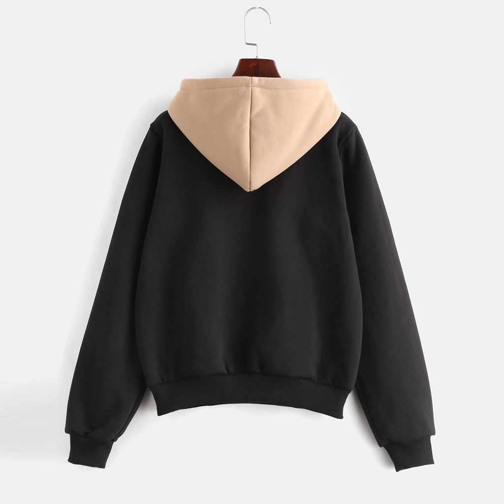 Kpop Hoodies Wanita Warna Solid Lengan Panjang Sweatshirt Kasual Pullover Musim Gugur Streetwear Hip Hop Atasan Толстовка Женская Худи