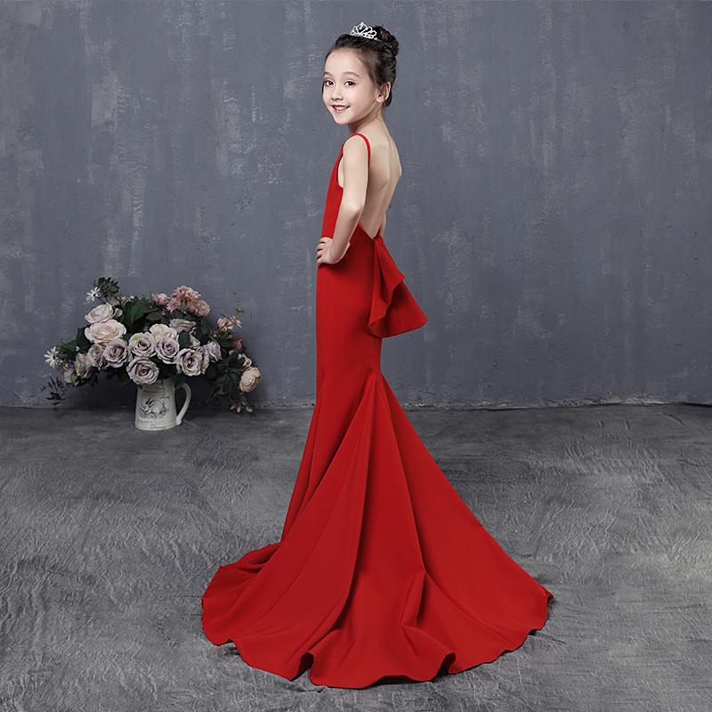 Red Trumpet Flower Girl Dresses Long Tailings Wedding Kids Dress Backless Evening Tutu Mermaid Princess Dress for Birthday AA257 luxury mermaid long flower girl dress wedding princess dress red beading evening kids girls dress for birthday party show gowns