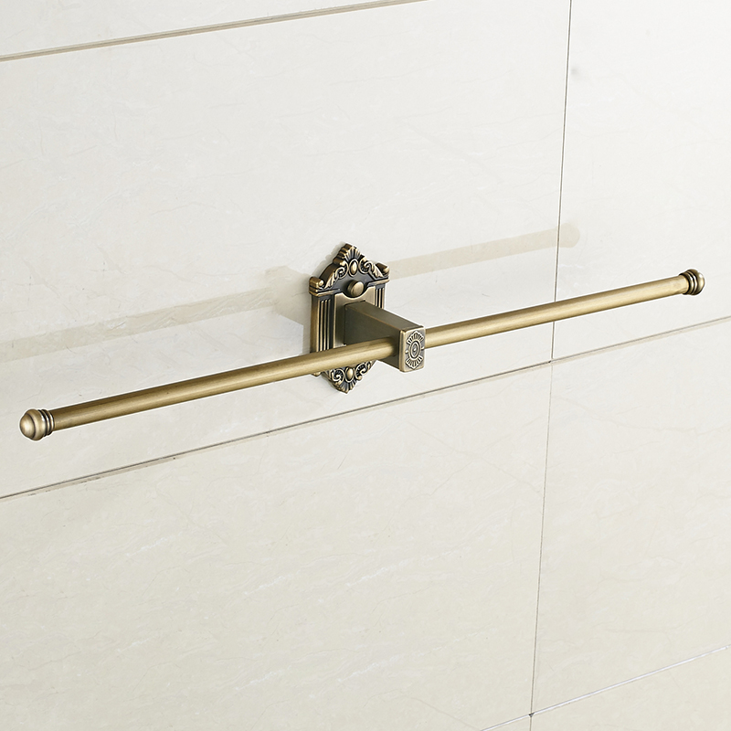 Vidric Towel Bars Single Rail Antique Brass Wall Shelf Towel Holder Towel Hangers Bath Shelves Bathroom Accessories Towe