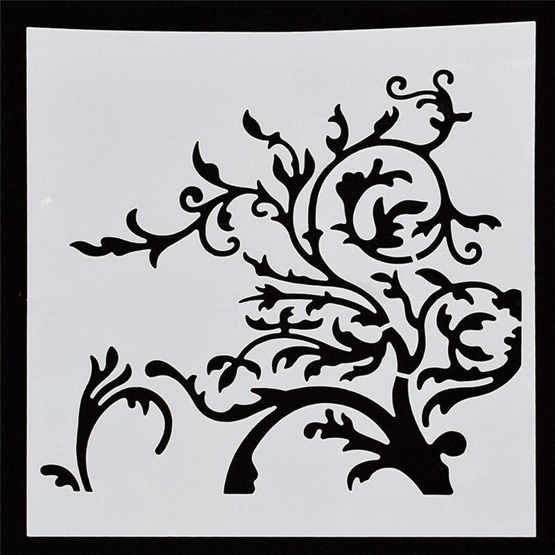 1Pcs Reusable Enchanted Tree Branches Flower Shape Stencils Airbrush Painting DIY Scrapbooking Decor Art Album Crafts
