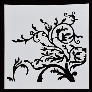 1Pcs Reusable Enchanted tree branches Flower Shape Stencils Airbrush Painting DIY Scrapbooking Decor Art Album Crafts image