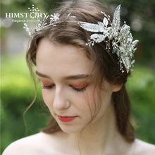 HIMSTORY Luxury Silver Leaf Crown Pearls Wedding Tiara Headband 100% Handmade Bridal Headpiece Hair Accessories JEwelry jonnafe new design gold leaf tiara bridal headband handmade pearl hair jewelry wedding accessories vintage women headpiece