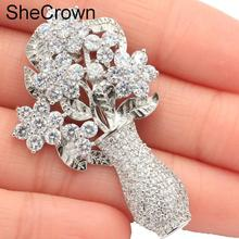 Deluxe Flower White Sapphire CZ Party SheCrown Silver Brooch 47x29mm