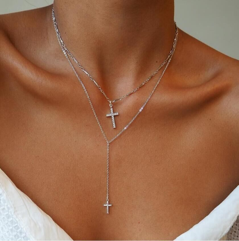 17KM Fashion Gold Color Crystal Cross Necklaces Pendants Bohemian Double Layered Necklace Catholic Religious Christian Jewelry