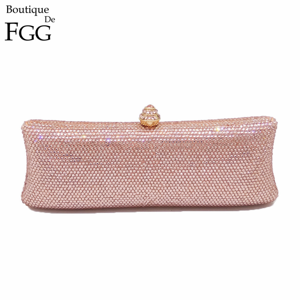 Hot Fixed Champagne Crystal Evening Clutch Bags For Women Handbag Cocktail Party Metal Clutches Bag Bridal Wedding Clutch Purse