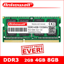 ANKOWALL DDR3 2GB 4GB 8GB Laptop 1066 1333 1600 MHz sodimm ddr3l RAM Notebook Memory 204pin 1.5V/1.35V Warranty Three Years(China)