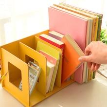 Creative Desk Organizer Book Holder Stand Wooden Desk Shelf DIY Office Book Rack CD Magazine File Stand