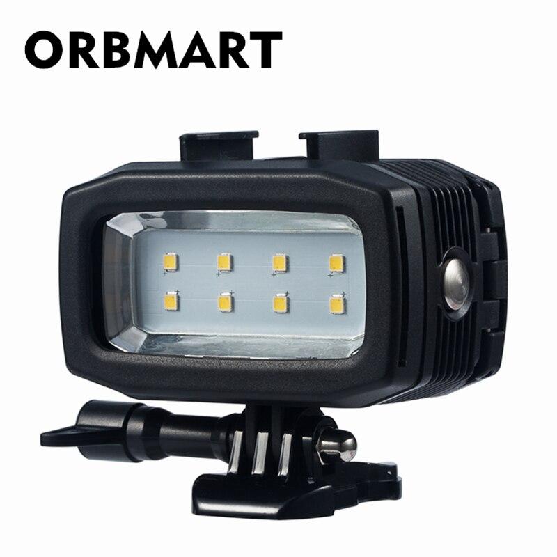ORBMART Double Batterie Lumière Plongée Sous-Marine 30 m LED Vidéo Lumière Pour Gopro Hero 7 6 5 4 SJCAM SJ4000 xiaomi Yi Sport Caméra