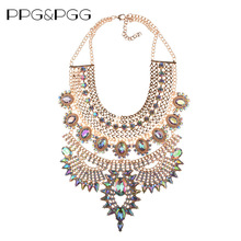 PPG&PGG New Color Fashion Jewelry Gorgeous Brand Big Statement Gold-color Crystal Bib Collar Maxi Necklaces Bijoux