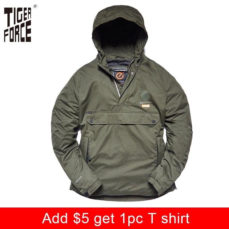 TIGER FORCE New Arrival 2018 Men Jacket Spring Casual Jackets Hoodie Hooded Jacket Side Zipper Front Pocket Coat European Size